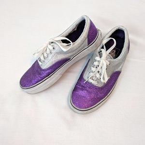 Purple And Silver Glitter Era Vans